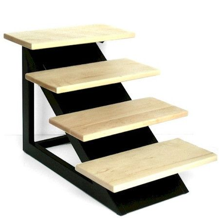 """Loft Pet Steps – Petiquette Dogs Beautiful, modern and heavy duty pet steps for dogs and cats needing a lift. Your pet can reach their favorite places on beds or couches and you won't have to sacrifice style.  Our Loft Pet Steps feature real maple wood frosted with a non-slip sand finish, mounted on a sleek, heavy duty wrought iron frame. Plastic non-skid tips on bottom. """"Like"""" or """"Pin"""" this and use discount code """"Pin5"""" for 5% off."""