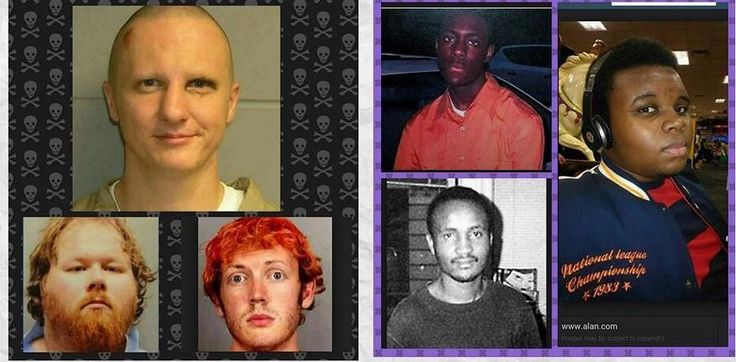 """Definition of """"Injustice""""?? All three on the left committed MASS murder with firearms but were apprehended with out incident or injury to law enforcement even though the perpetrators were armed. The three on the right were all unarmed and not in the commission of any crime when they were gunned down by police."""