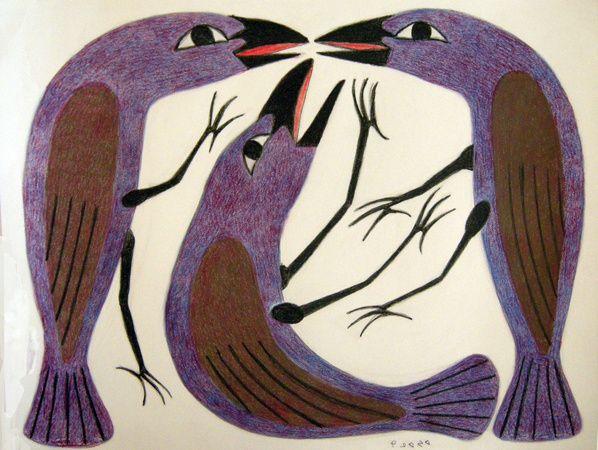Drawing by Inuit artist Kenojuak Ashevak from Cape Dorset, Nunavut. Coloured Pentel pen and pencil