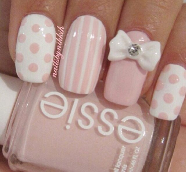 Light pink and white with stripes, polka dots, and bling bow