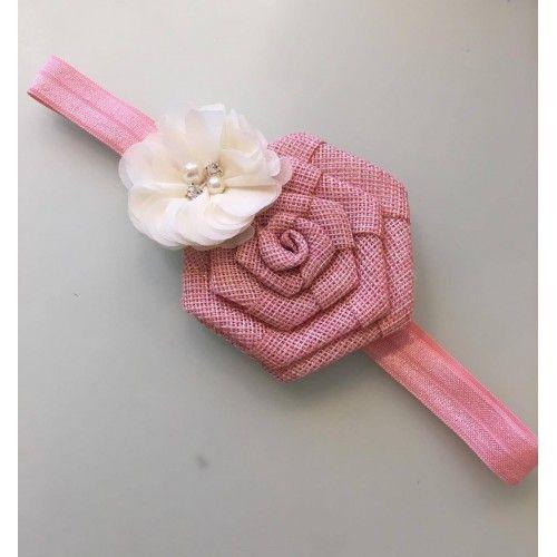 """""""Rosemunde"""" Gammelrosa hårbånd med gammelrosa og ivory blomst"""