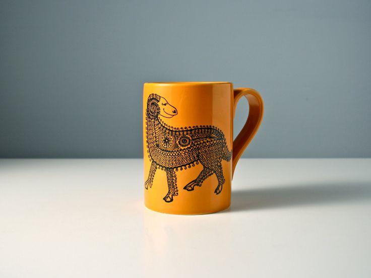 Aries the Ram, retro Portmeirion Zodiac coffee mug. Vintage yellow cup. John Cuffley design. Mid century. 1970s.