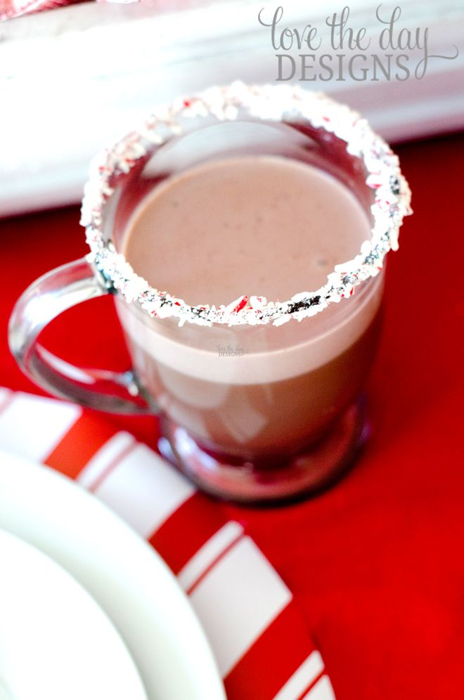 candy cane rimmed hot chocolate