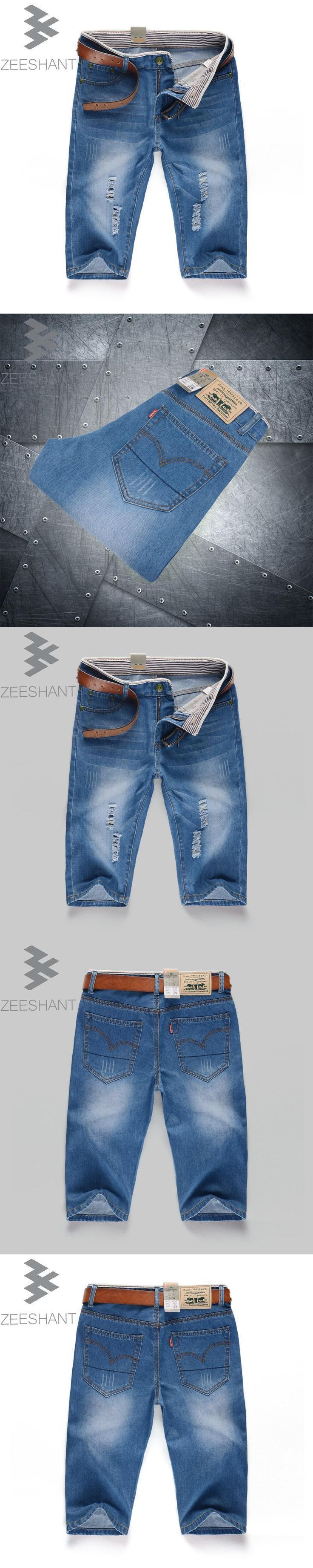 ZEESHANT Plus Size 40 Shorts Men Fashion Pocket Ripped Jeans Vintage Trousers Male Hole Denim Short Pants in Men's Jeans