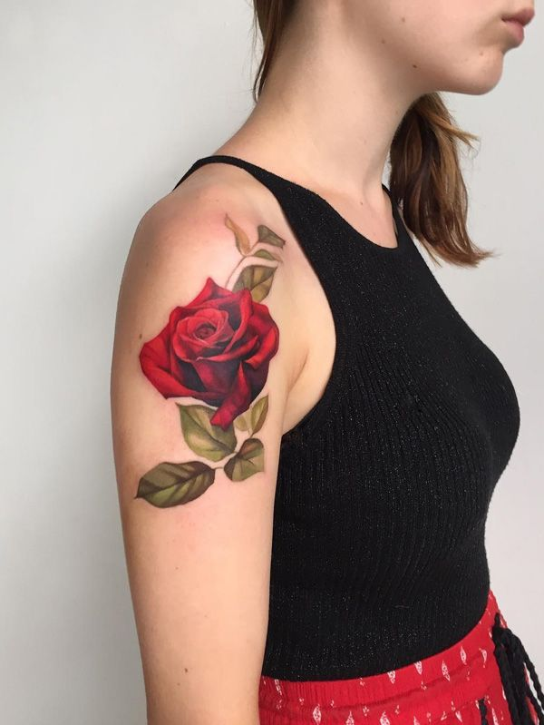 Amezing red rose tattoo - 100+ Meaningful Rose Tattoo Designs