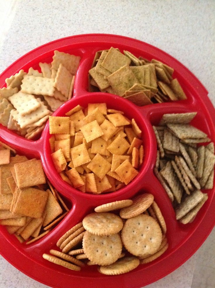 Cracker tray: Dill Triscuits; Wheat Ritz crackers; Cheese Nips; Zesty Salsa Wheat Thins; Chicken Biscuit Crackers; Spicy Buffalo Wheat Thins