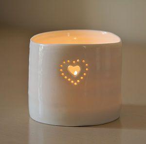 Porcelain Double Heart Tealight - votives & tea light holders