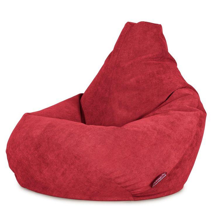 Bean Bag Chairs Lounge Pug Gaming Chair Beanbag UK Flock Red Big Bertha
