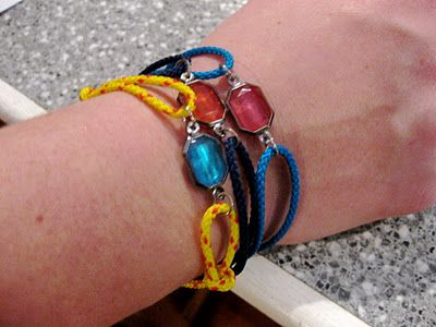 DIY neon jeweled cord bracelets