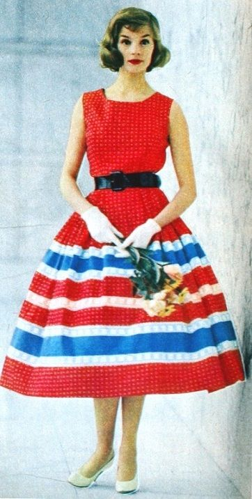 Libelle (Dutch) April 1957 Red White Blue Rock n Roll Dress