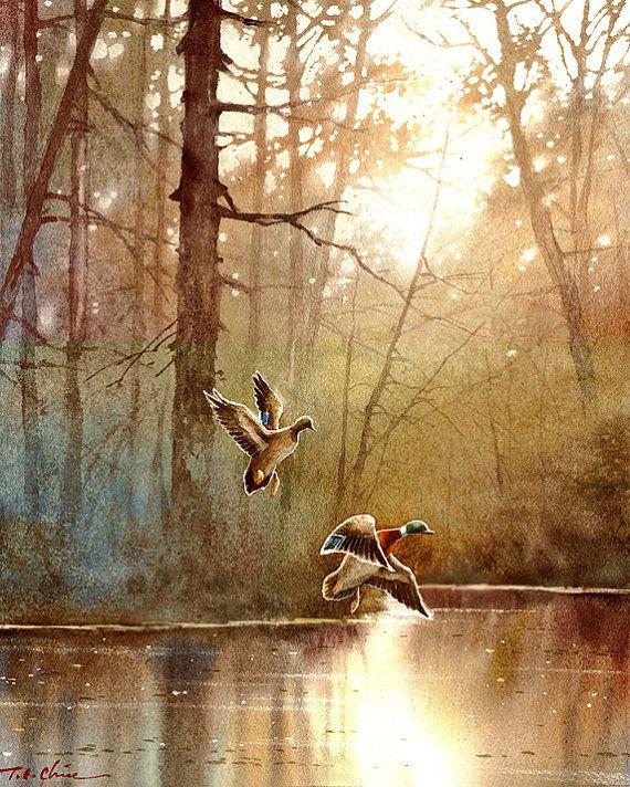 Landscape  series 3 - Watercolor Painting Archival Print - Watercolor Landscape, Wildlife, Waterfowl,  Ducks, Birds