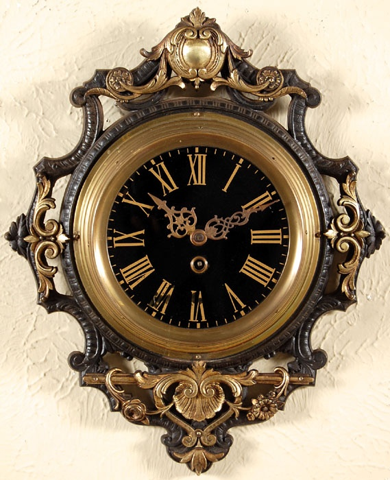 French Napoleon III Period Wall Clock,Crafted from brass during the waning years of the Napoleon III