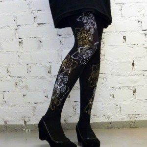 Hand printed Pitsiruusu- tights