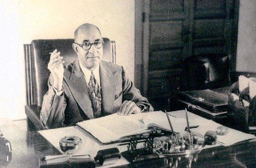 Prime Minister Liaquat Ali Khan in his office, 1950
