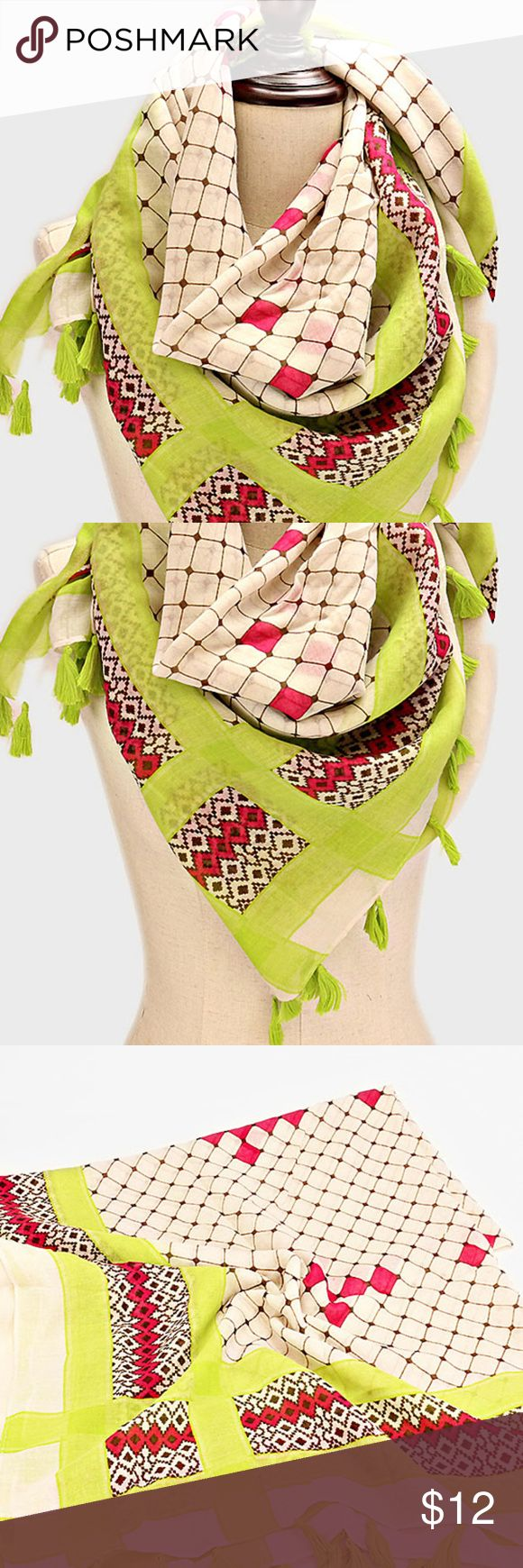 "Womens Scarves Aztec Print Tassel Scarf Green Color: Green    Theme: Aztec, Tassel   Size: 40"" W, 64"" L Material: Polyester Weight (lbs.):0.3 Accessories Scarves & Wraps"
