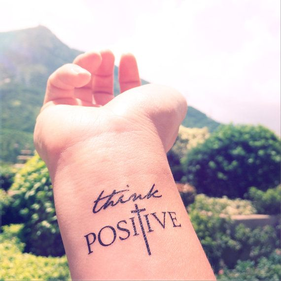 2pcs THINK POSITIVE Faith Cross - InknArt Temporary Tattoo - set wrist quote…