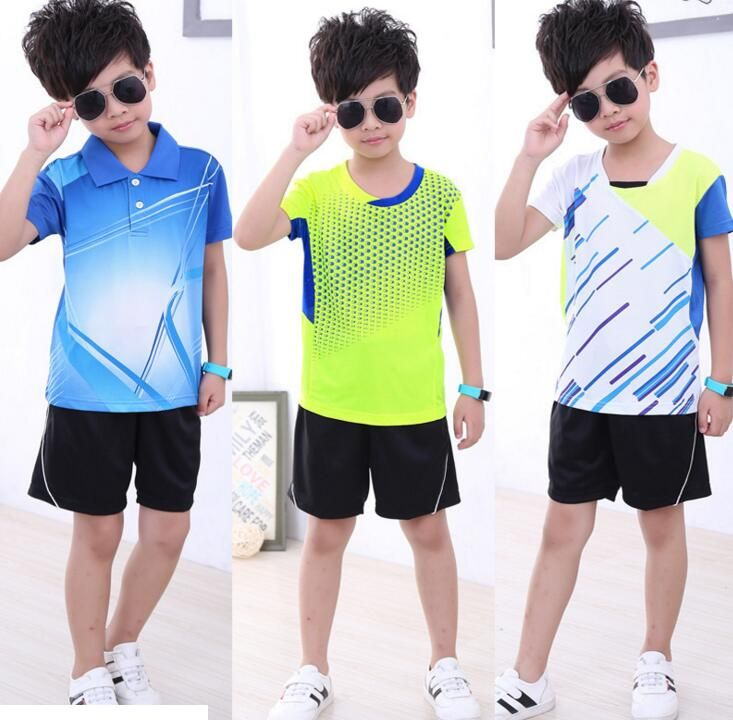 Free shipping Children badminton sportwear shirts Shorts,polyester Quick-drying Absorb breather men table tennis Jersey suit