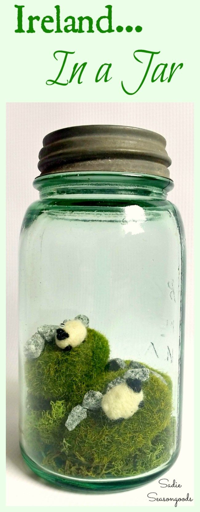 Recreating Irish countryside in a vintage green Mason Jar for St. Patrick's Day is surprisingly easy! Plus it's about as cute as it can get. #SadieSeasongoods / www.sadieseasongoods.com