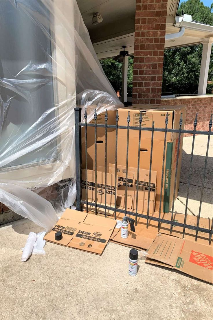 diy spray painting wrought iron fence tutorial on inexpensive way to build a wood privacy fence diy guide for 2020 id=99653
