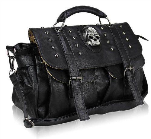 Ladies Black Handbag Skull Diamante Crossbody Shoulder Satchel Bag   Amazon.co.uk  a0f9f9bf6c