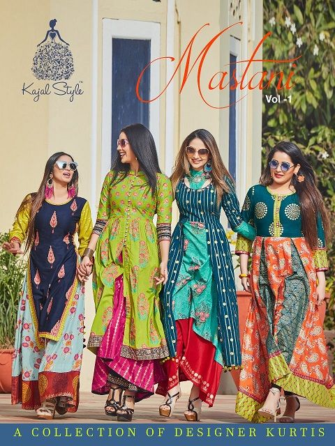 ae9a02ae2c Kajal Style Mastani Vol 1 Designer Printed Heavy Loan cotton and Heavy  Rayon Long Flair Party Wear Readymade Kurtis