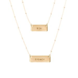 Anna Bee Jewelry Layered Horizontal Tag Necklace