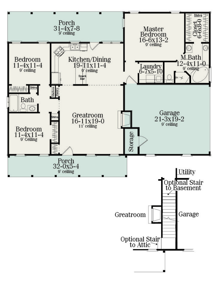 Sutherlin Small Ranch House Plan   5458 Separate The Additional Bedrooms  With Screen Porch.