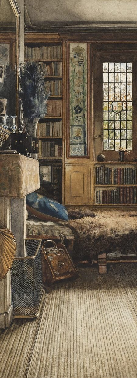 """Anna Alma-Tadema (1865 - 1943) - Detail from """"Sir Lawrence Alma-Tadema's Library in Townshend House, London"""", 1884"""