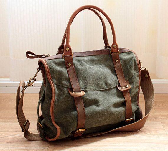 Bolsa de lona verde militar/cuero bolso/lienzo bolsa/bolso de compras/puntada bolso/bandolera/bolsa iPad