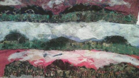 My 4 piece embroidered bog seasons inspired by abbeyleix bog , cas holmes , anne Kelly and monet .