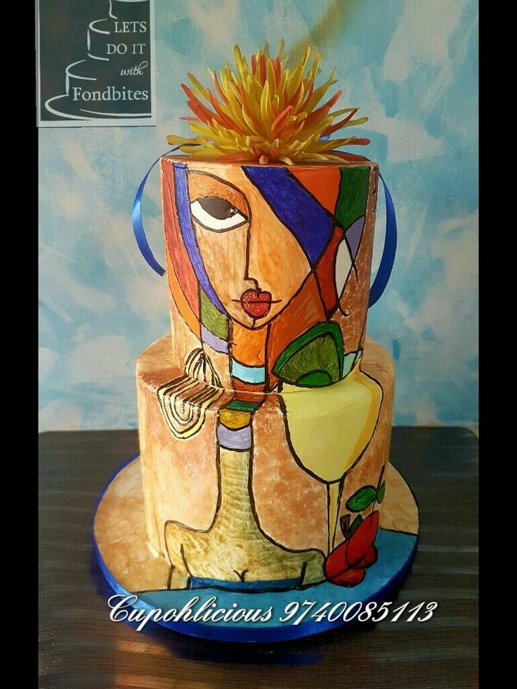 Haute couture, bright colours, modern art .....all on a cake !!! Hand painted !! All edible !!