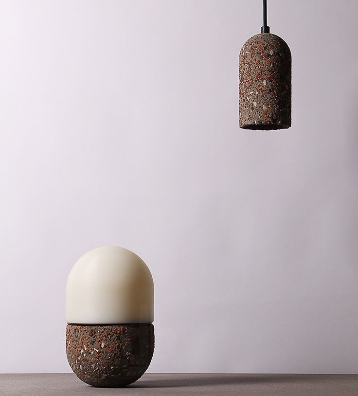 bentu design's recycle series lamps built with construction waste