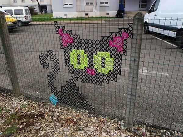 Cross-Stiched Fence Art - Urban X Stitch Creates Cross-Stitch Art on City Fences (GALLERY)
