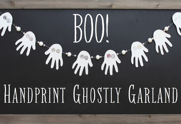Ghostly handprint garland