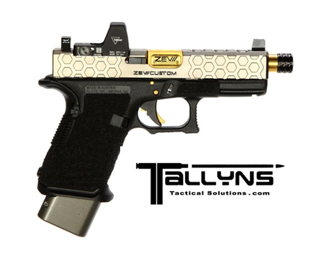 Custom ZEV Glock 19 HEX Cut Slide with Gold Accents - Tallyn's Tactical Solutions LLC