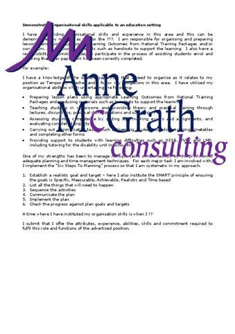 Training - Demonstrated organisational skills in an education setting – Professional Resumes @ Anne McGrath Consulting