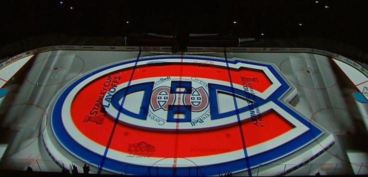 Des projections 3D sur la patinoire du Centre Bell en séries 2014.