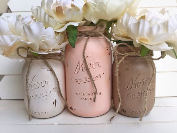 Three Painted Mason Jar - Shabby Chic Rustic Decor Centerpieces Flower Vases Distressed Painted Beach Wedding Peach Brown Ivory White