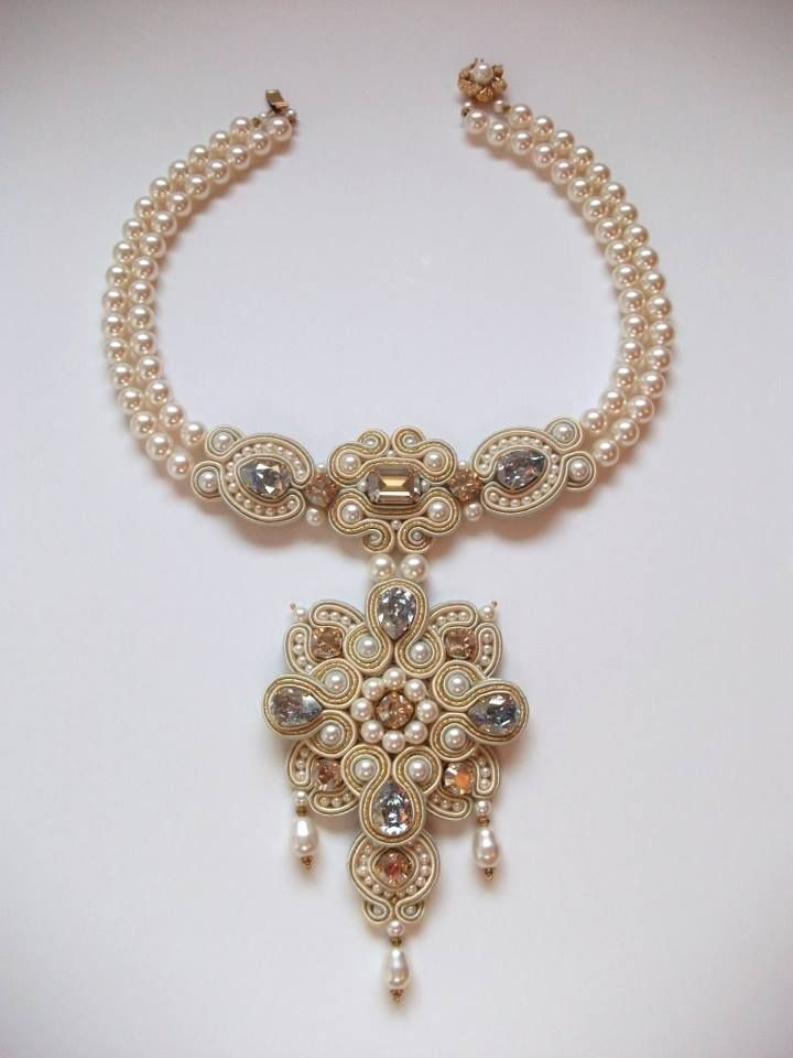 Soutache necklace by Anneta Valious ~ lovely pearls.