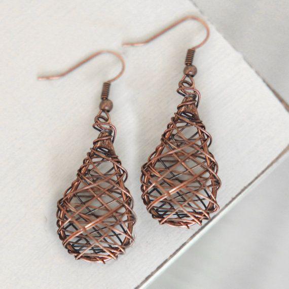 very cool copper wire earrings