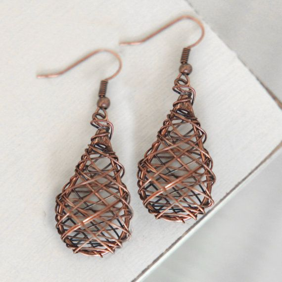 very cool copper wire earrings