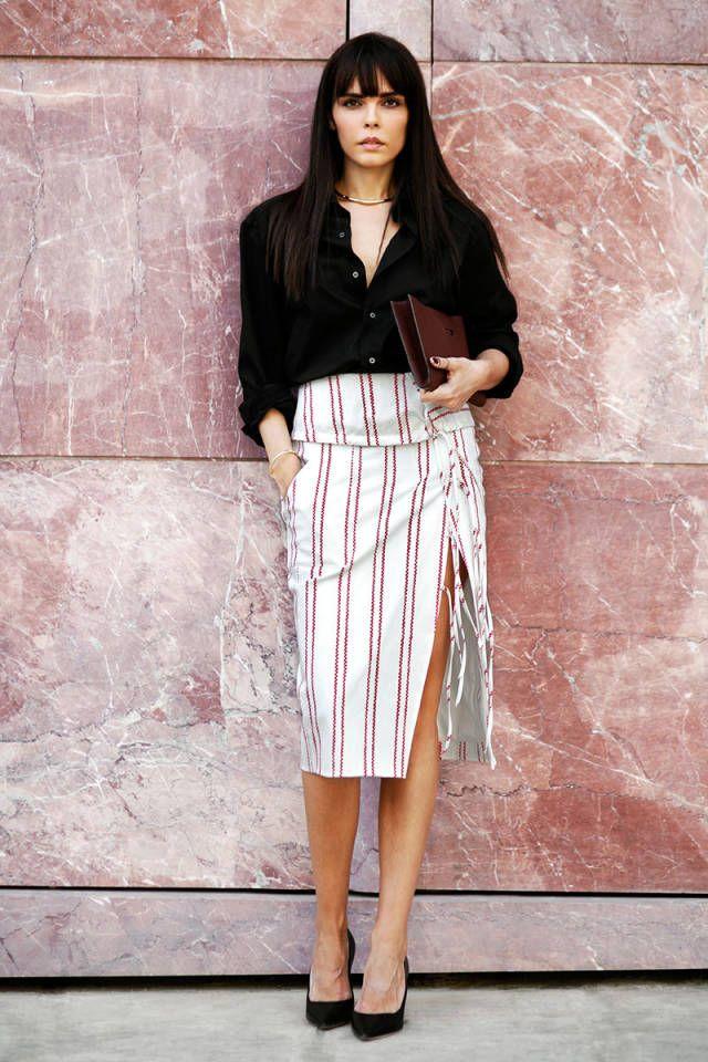 My Life in 3 Looks: The Style Heroine  Altuzarra skirt, bespoke shirt, Dior pumps, The Row cutch, Margiela bracelet, Apriati stackable rings, Tom Wood pinkie.