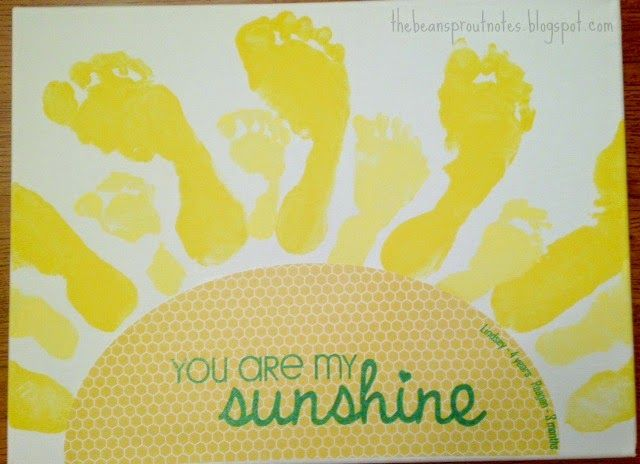An art project for sisters (or brothers) to make together. Sibling Footprint Art - You Are My Sunshine