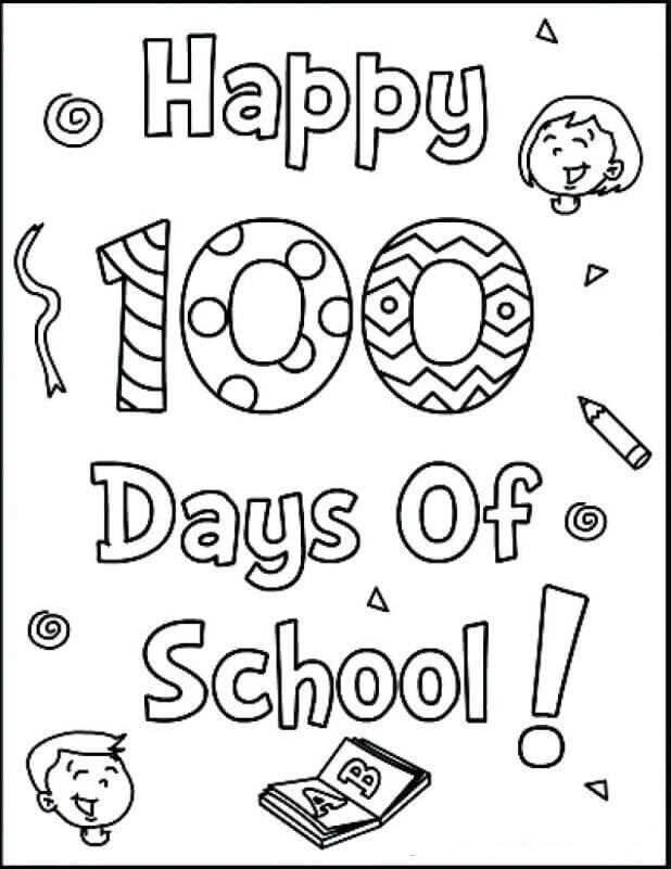 100 Days Coloring Pages : coloring, pages, Printable, School, Coloring, Pages, Sheets, Project,, Pages,, 100th, Crafts