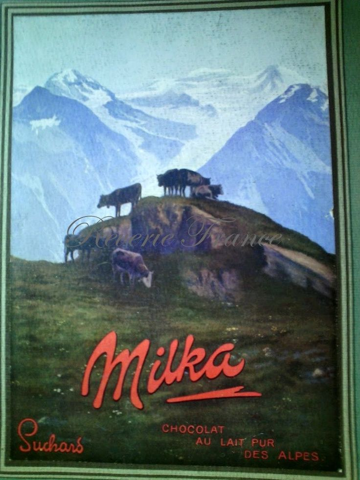 Vintage French Ad Milka Suchard Chocolate 1913 by reveriefrance on Etsy