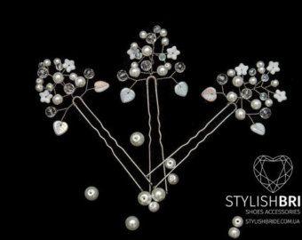 Bridal Pearl Crystal Hair Pins, Pearl Hair Pins, Wedding Hair Accessories, Bridesmaid Hair Accessory, Crystal Pearl Hair Grips