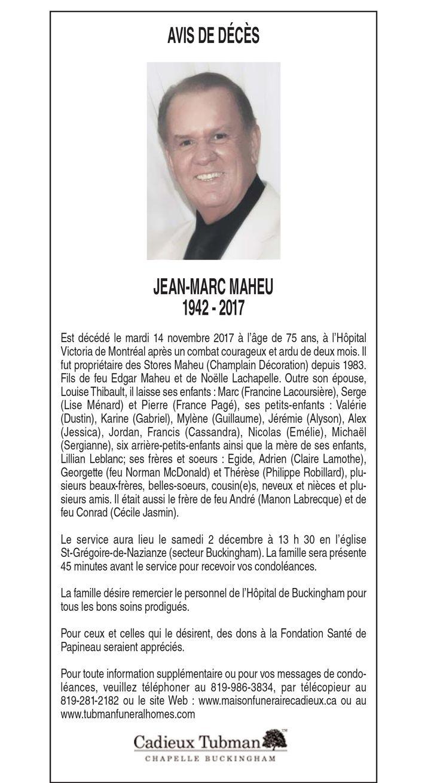 JM Maheu avis de décès nécrologie