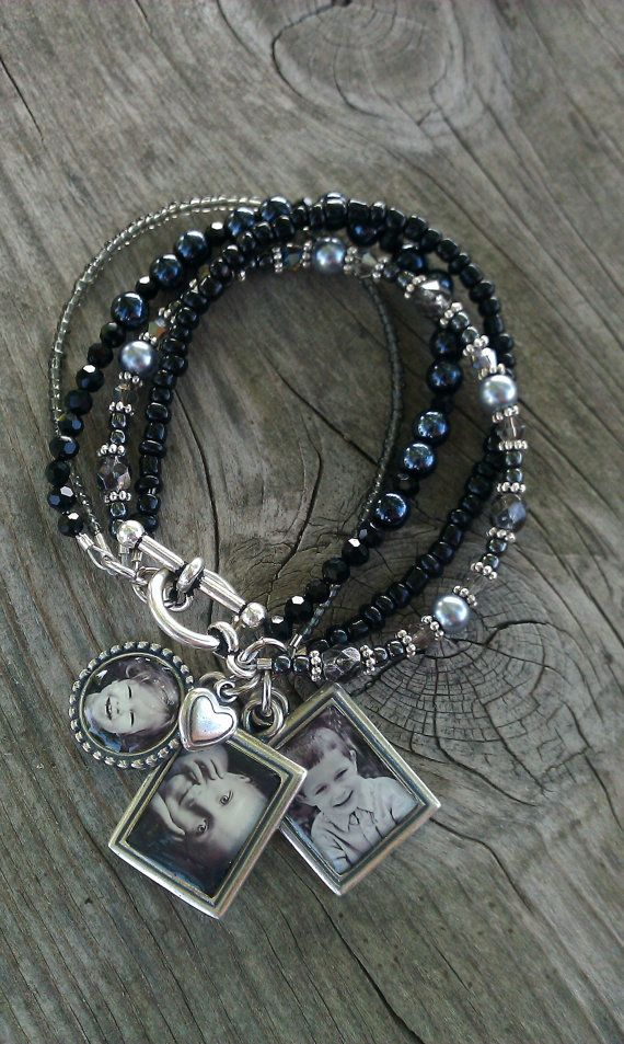 Photo Charm Bracelet Black or Brown Beaded Photo by GinasPhotoGems, $59.00 https://www.etsy.com/listing/83159665/photo-charm-bracelet-black-or-brown