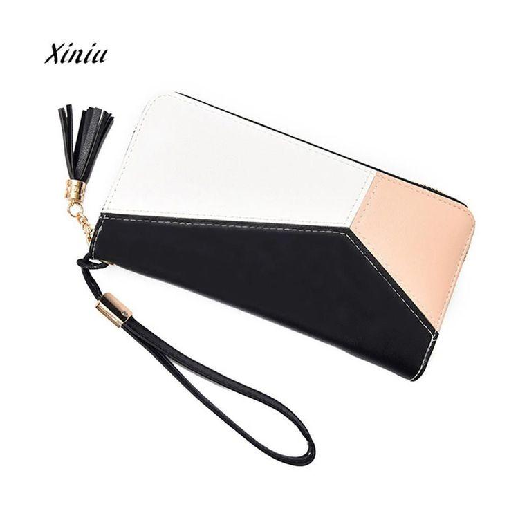 Women Handbag Wallet Fahion Tassel Patchwork Long Design Leather Wallet Coin Purse Card Holders Handbag Zipper Coin Bags #Affiliate #handbags