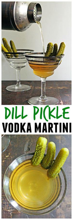 Dill pickle vodka martini recipe // Rhubarbarians